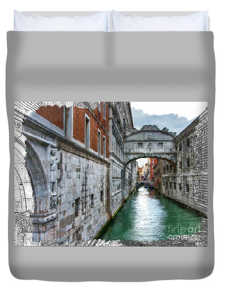 Duvet Cover featuring the photograph Bridge Of Sighs by Tom Cameron