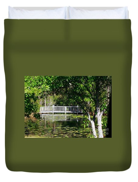 Bridge On Lilly Pond Duvet Cover
