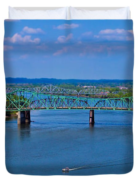 Bridge On The Ohio River Duvet Cover by Jonny D