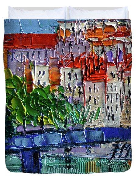 Bridge On The Saone River - Lyon France - Palette Knife Oil Painting By Mona Edulesco Duvet Cover