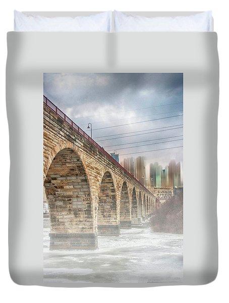 Bridge Over Frozen Water Duvet Cover