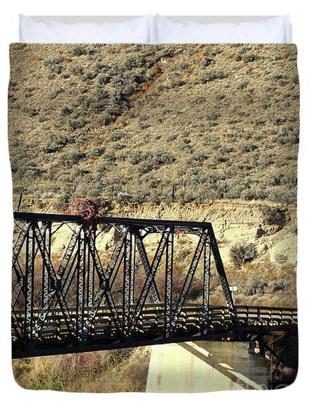Duvet Cover featuring the photograph Bridge Over The Thompson by Ann E Robson