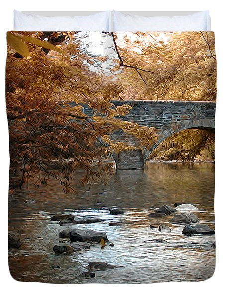 Bridge Over The Wissahickon At Valley Green Duvet Cover by Bill Cannon