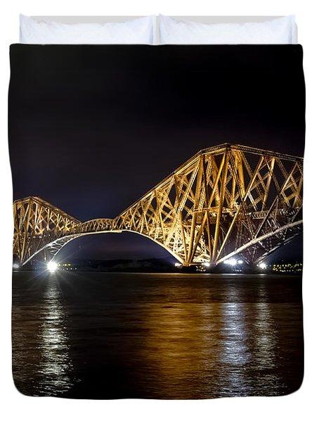 Bridge Over Water Lights. Duvet Cover