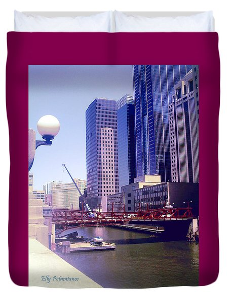 Duvet Cover featuring the pyrography Bridge Overview by Elly Potamianos