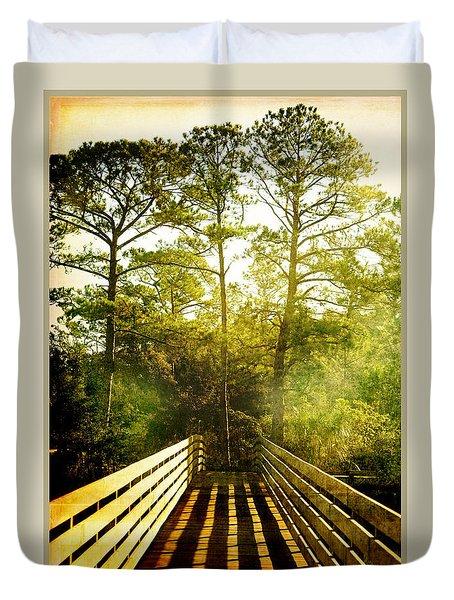 Duvet Cover featuring the photograph Bridge Shadows by Linda Olsen