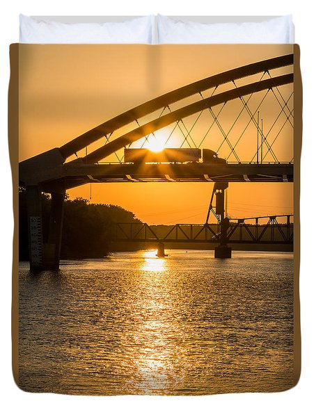 Duvet Cover featuring the photograph Bridge Sunrise #2 by Patti Deters