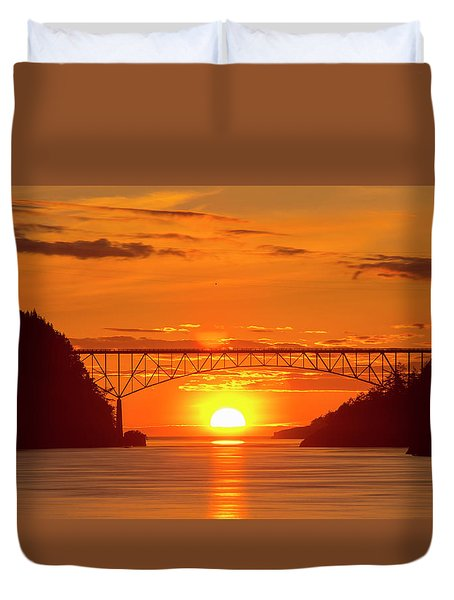 Bridge Sunset Duvet Cover