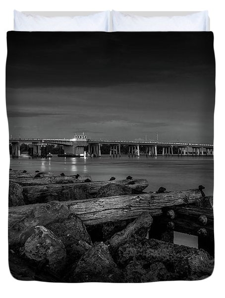 Bridge To Longboat Key In Bw Duvet Cover