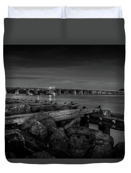 Duvet Cover featuring the photograph Bridge To Longboat Key In Bw by Doug Camara