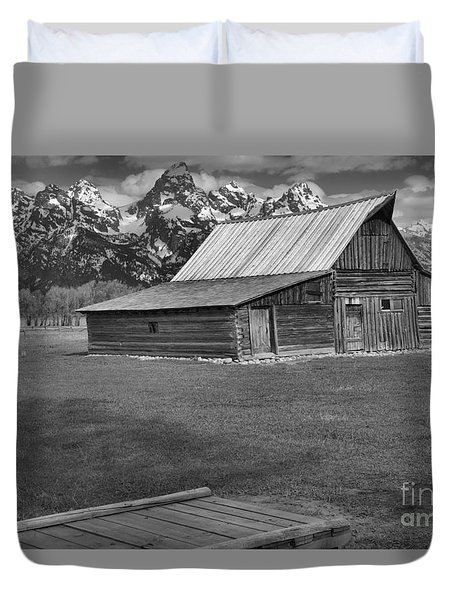 Bridge To The Barn Black And White Duvet Cover by Adam Jewell