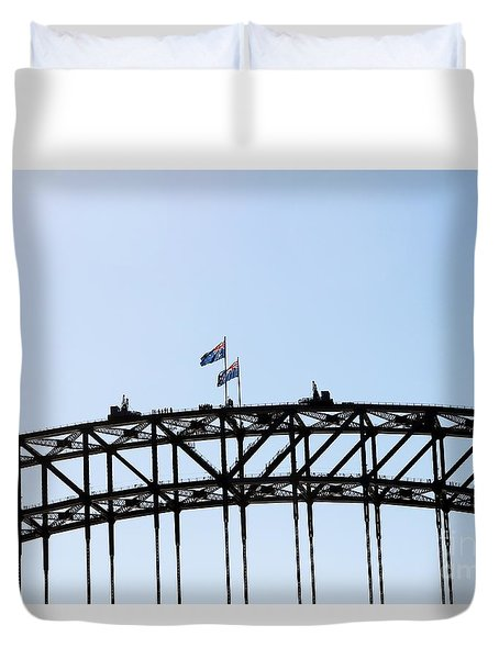 Duvet Cover featuring the photograph Bridge Walk by Stephen Mitchell