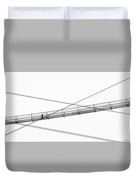 Duvet Cover featuring the photograph Bridge Walker by Joe Bonita