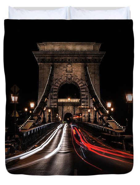 Bridges Of Budapest - Chain Bridge Duvet Cover by Jaroslaw Blaminsky
