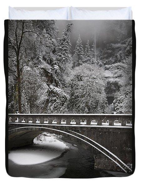 Bridges Of Multnomah Falls Duvet Cover by Wes and Dotty Weber