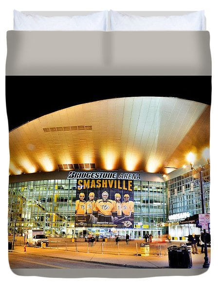 Duvet Cover featuring the photograph Bridgestone Arena by Lisa Wooten