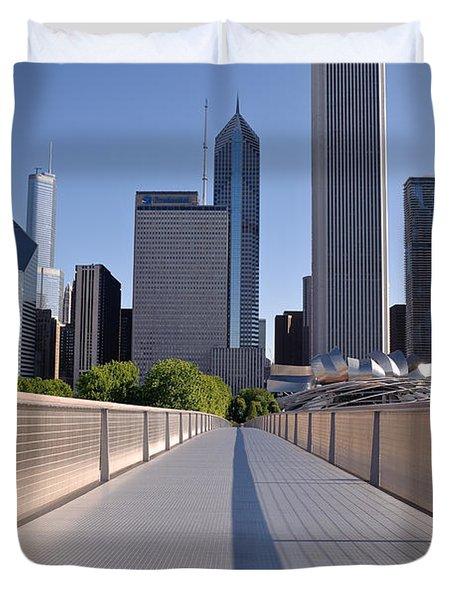Bridgeway To Chicago Duvet Cover by Steve Gadomski