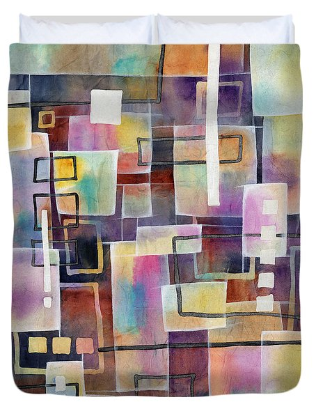 Duvet Cover featuring the painting Bridging Gaps by Hailey E Herrera