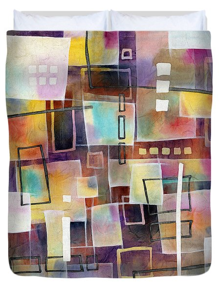 Duvet Cover featuring the painting Bridging Gaps 2 by Hailey E Herrera