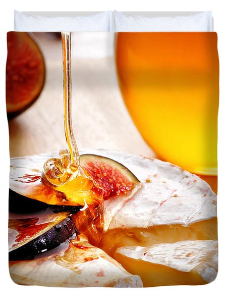Brie Cheese With Figs And Honey Duvet Cover