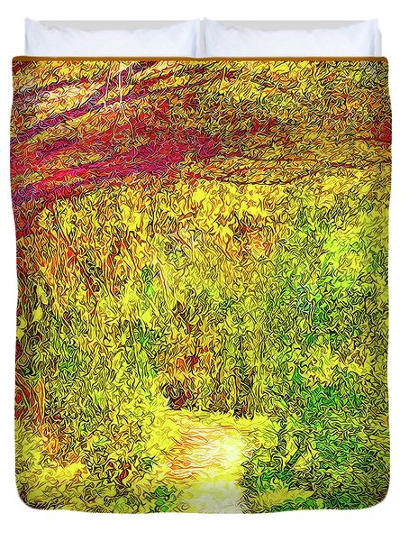 Duvet Cover featuring the digital art Bright Afternoon Pathway - Trail In Santa Monica Mountains by Joel Bruce Wallach