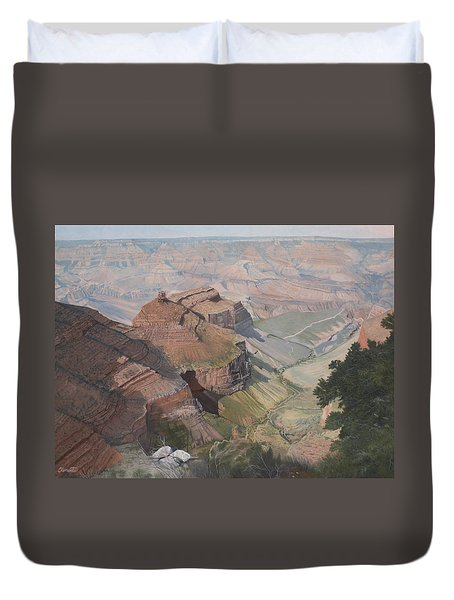 Bright Angel Trail Looking North To Plateau Point, Grand Canyon Duvet Cover