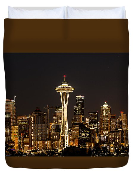 Bright At Night - Space Needle Duvet Cover
