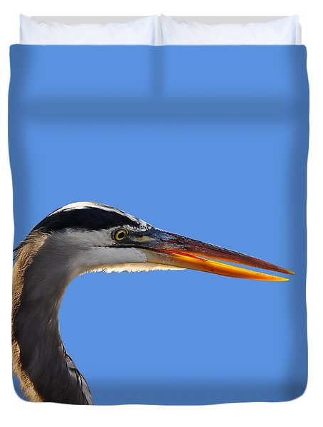 Duvet Cover featuring the photograph Bright Beak Blue .png by Al Powell Photography USA
