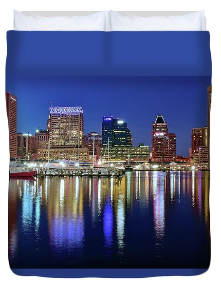 Duvet Cover featuring the photograph Bright Blue Baltimore Night by Frozen in Time Fine Art Photography