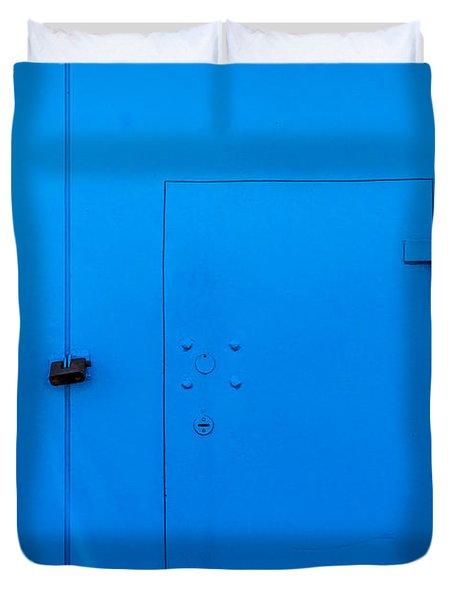 Bright Blue Locked Door And Padlock Duvet Cover