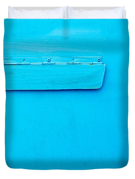 Duvet Cover featuring the photograph Bright Blue Paint On Metal With Postbox by John Williams