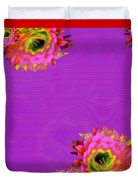 Bright Cactus Flowers Duvet Cover