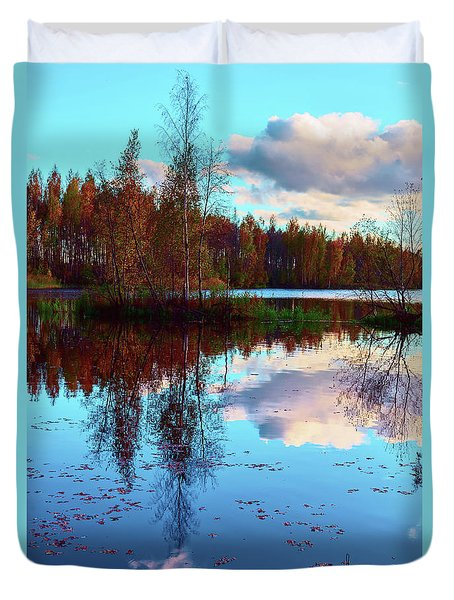 Bright Colors Of Autumn Reflected In The Still Waters Of A Beautiful Forest Lake Duvet Cover