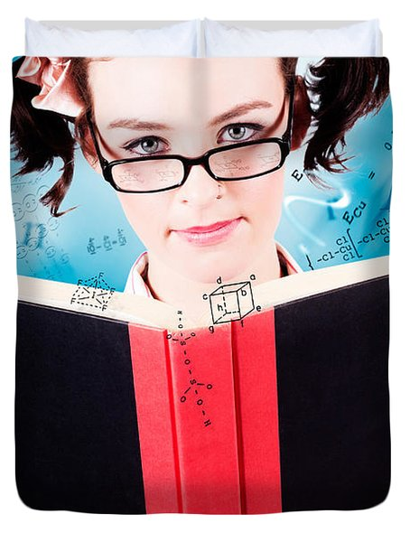 Bright Cute Girl Studying Education Textbook Duvet Cover