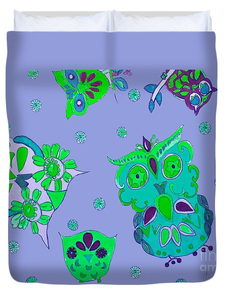 Duvet Cover featuring the mixed media Bright Eyed Owls by Beth Saffer
