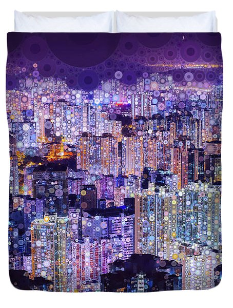 Duvet Cover featuring the mixed media Bright Lights, Big City by Susan Maxwell Schmidt