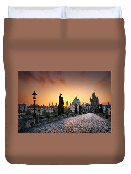 Bright Morning In Prague, Czech Republic Duvet Cover