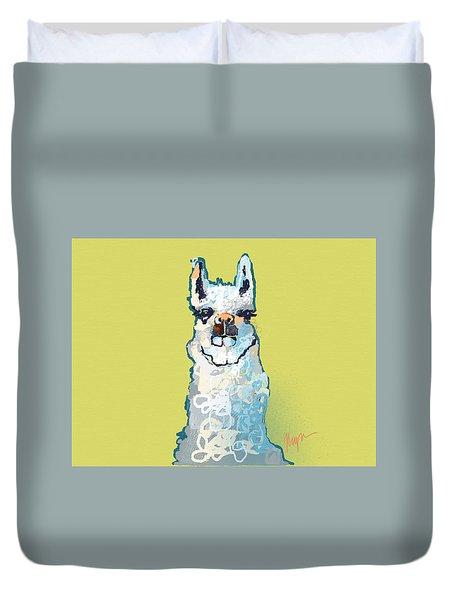 Bright Mustard Llama Duvet Cover