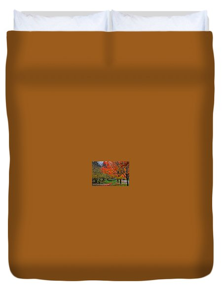 Duvet Cover featuring the digital art Bright Orange Fall Colors by Kirt Tisdale