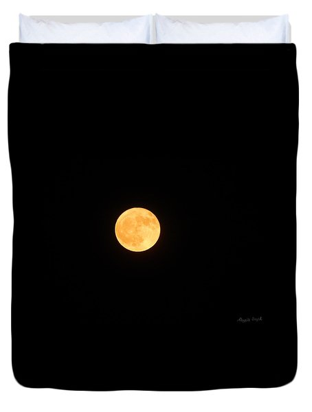 Bright Orange Moon Duvet Cover