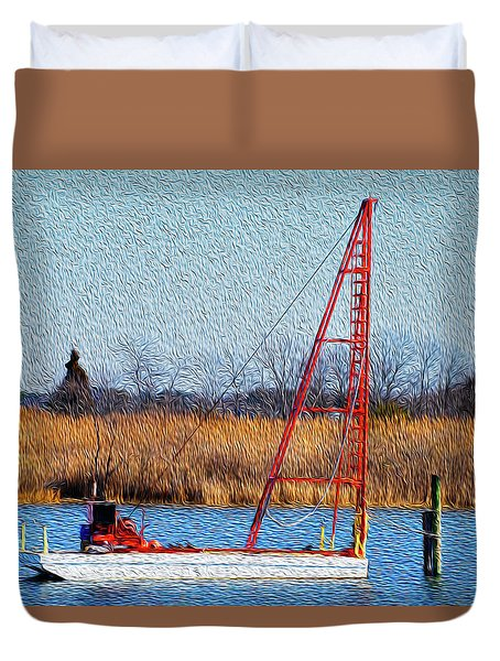 Bright Paintery Barge Duvet Cover