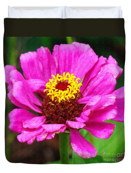 Bright Pink Zinnia Duvet Cover