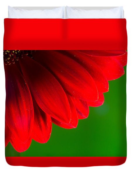 Bright Red Chrysanthemum Flower Petals And Stamen Duvet Cover