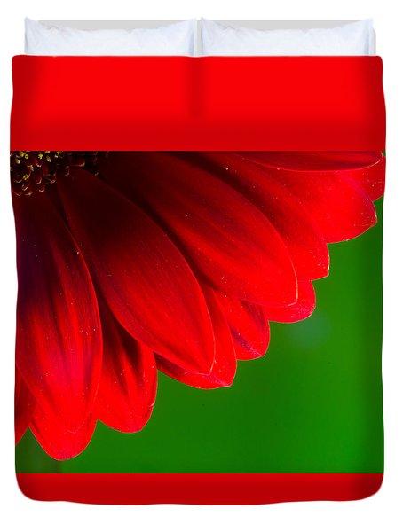 Bright Red Chrysanthemum Flower Petals And Stamen Duvet Cover by John Williams
