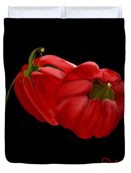 Bright Red Peppers Duvet Cover