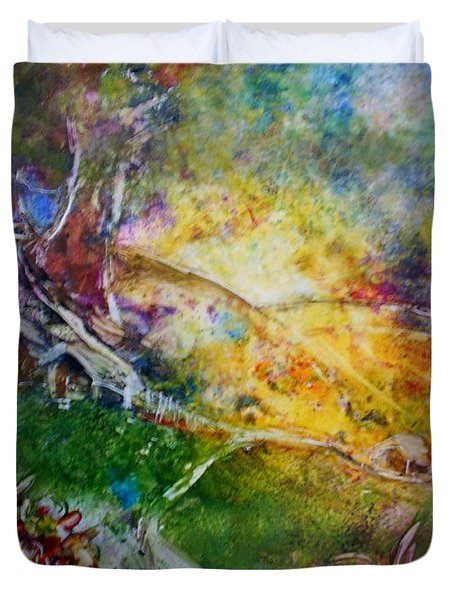 Duvet Cover featuring the painting Bright Shiny Day by Deborah Nell