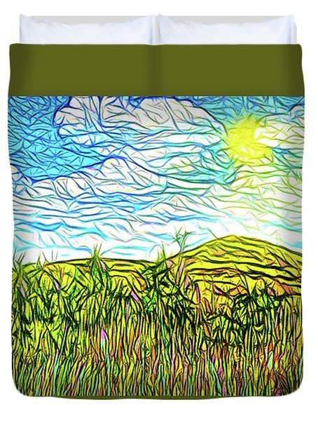 Bright Sky Summer - Field In Boulder County Colorado Duvet Cover