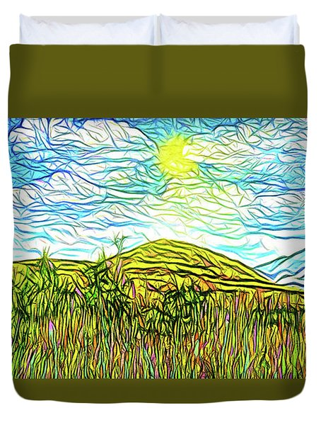 Bright Sky Summer - Field In Boulder County Colorado Duvet Cover by Joel Bruce Wallach