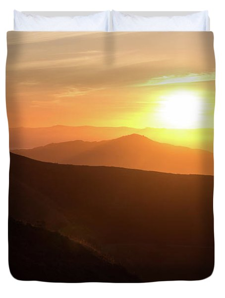 Bright Sun Rising Over The Mountains Duvet Cover