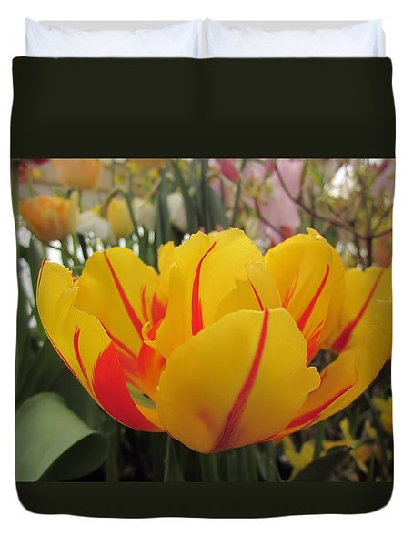 Bright Tulip Duvet Cover by MTBobbins Photography
